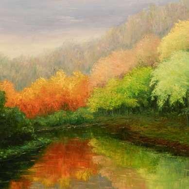Quadre de Pepita Manzanares sobre el riu, la natura i la tardor
