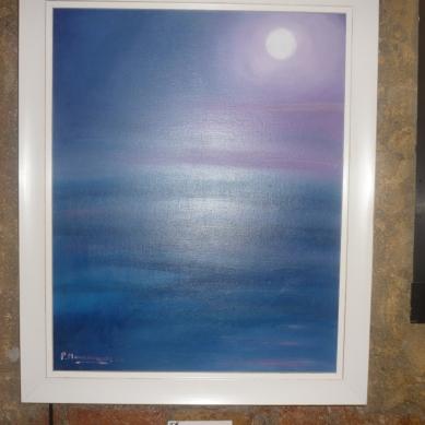Cuadro de Pepita Manzanares de la Luna llena en el mar