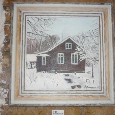 Cuadro de Pepita Manzanares sobre casa en Suecia.