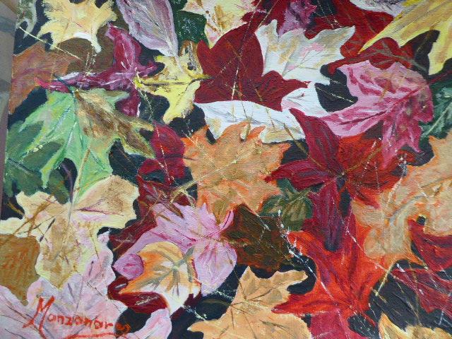 Pintura de les fulles seques a la tardor